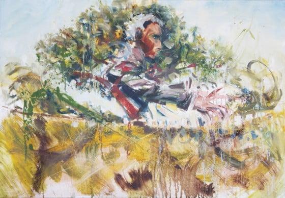 "Toile Edgard Wilson Trio, peinte ""live"" durant le concert au festival TassJazz 2011"